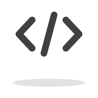 Decorative image of code characters. Less-than, slash, Greater-than